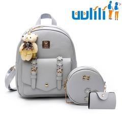 UULILI  Double Shoulder Bags Pu backpack Student fashion backpack  Korean Style  Women Lash package gray 10*5*12(in)