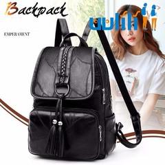 UULILI Genuine sheepskin leather bag  Double Shoulder Bags school bags backpacks for women black 10*5*13(in)