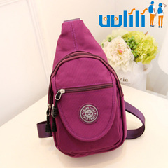 UULILI  Korean style Chest package Inclined shoulder bag Canvas backpack Multifunctional package purple 7*3*13(in)