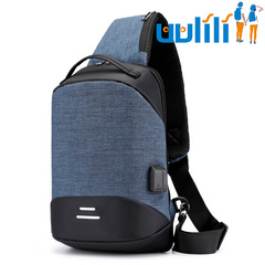 UULILI Men's chest package Oxford Outdoor shoulder bag Inclined shoulder bag Anti-theft package Dark blue 9*4*13(in)