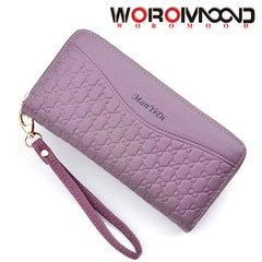Ladies long double zipper purse with large capacity pocket purse and mobile phone bag purple