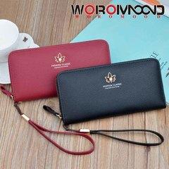 Large capacity zipper purse lady's long fashion pocket bag mobile phone bag zero purse black