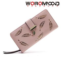 Stylish new lady long hollow-out leaf wallet hand bag mobile phone bag card bag pink