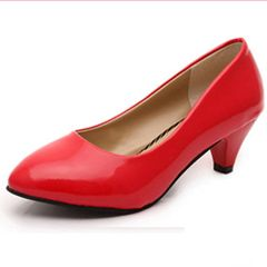 ladies middle heel work shoes, fashion pointy women's shoes match with shallow single shoes at will Red 40