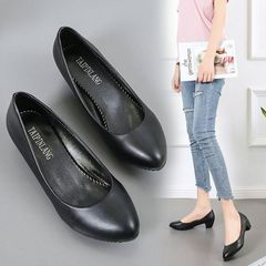 ladies large high-heeled shoes, new thick heel pointed Shallow mouth Work shoes ladies black 38