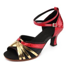 ladie's modern dance shoes, high heels and soft soled square dance shoes sandals black red 38