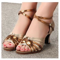 ladie's modern dance shoes, high heels and soft soled square dance shoes sandals gold 39