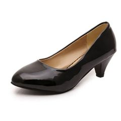 ladies middle heel work shoes, fashion pointy women's shoes match with shallow single shoes at will Black 38