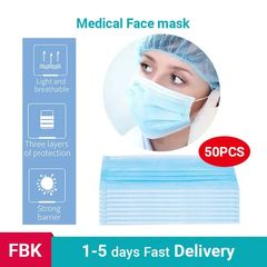 50PCS  Disposable Medical Face Mask Anti-Dust Bacteria Proof Face Masks 50 Pcs