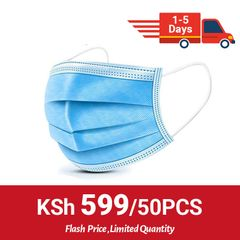 (Flash price,Limited quantity )50 Pcs 3-Ply Disposable Face Mask With Elastic Earloop High Quality blue