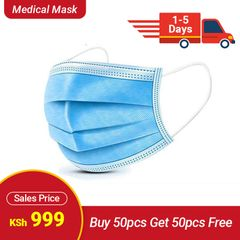 (Buy 50PCS  Get 50PCS  Free) 3-Ply  Disposable Face Mask With Elastic Earloop High Quality 50 pcs