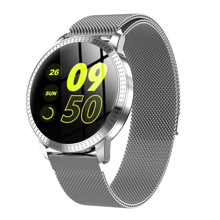 CF18 Waterproof IP67 1.22 Inch Blood Pressure Monitoring Metal Starp Multi Sport Modes SmartWatch silver one size