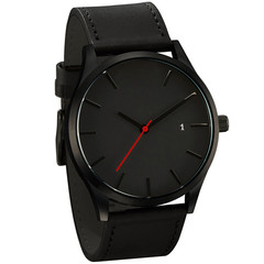 2019 Best Sell Watch Men Popular Low-key Minimalist Connotation Leather Men's Quartz Wristwatch black one size