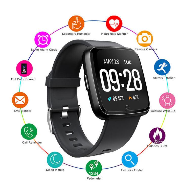 Y7  1.3 Inch  Sports Heart Rate Blood Pressure Sleep Monitoring Vibration Bluetooth Smart Watch black one size