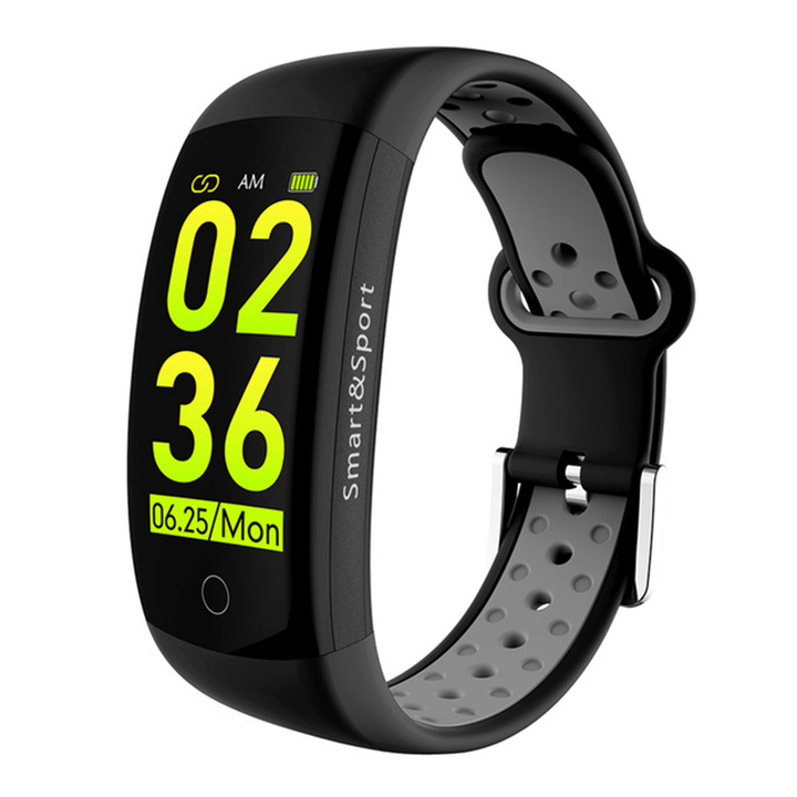 Q6s Touch Color Screen Heart Rate Monitoring Waterproof Smart Bracelet black one size