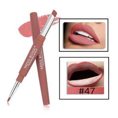 MISS ROSE 14 Color Double-end Lipsticks Lasting Lipliner Waterproof Lip Liner Stick Pencil 47