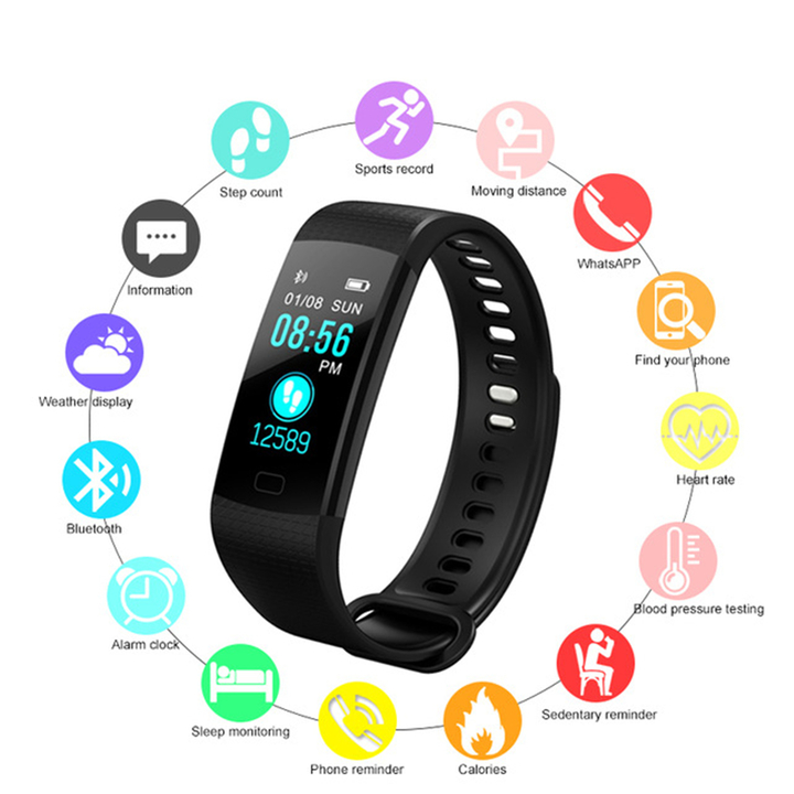 Y5 Bluetooth smart watch health monitoring color screen pedometer message push smart watch black one size