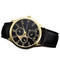 men Watches Retro Design Leather Band Analog Alloy Quartz Wrist Watch black one size