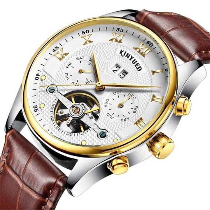 KINYUED Men Automatic Mechanical Watch Waterproof Skeleton Tourbillon Wristwatch gold white brown one size