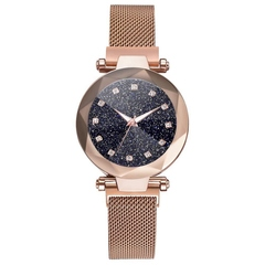 Stainless Steel Mesh Bracelet Watches For Women Crystal Analog Quartz Wristwatches 01 one size