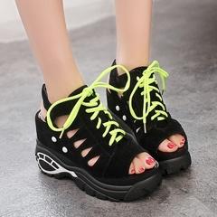 Raised sandals women's wedge heel waterproof platform shoes summer casual shoes Black 35