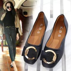 Single shoes women flat shoes as grandma fall 2019 new square flat shoes black 35