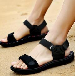 Men's sandals, summer slippers, men's beach shoes, personali black+red 37