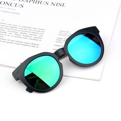 Candy Color Scrub Children's Sunglasses Colorful Reflective Lens UV400 Protection kids Sunglass Black frame / Green lens Children's models