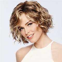 Fashion Fluffy Short Curly Gold Hair Wigs for Women Easy-Care Human Hair Synthetic Blend Wigs for Golden short curly hair 28cm 180g