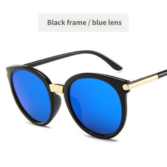 Round Retro Sunglasses for Men and Women Fashion golden design Vintage Classic Frame Black frame / blue lens One size