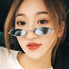 2019 Small Oval Sunglasses for men Male retro Metal frame vintage round sun glasses for women Silver frame /silver lens one size