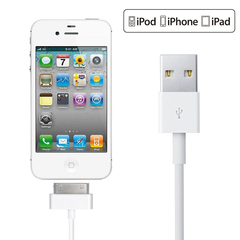 Usb data charging cable for iphone 4 4s ipod nano ipad 2 3 original Charger adapter 1m 30 Pin White One size/100cm