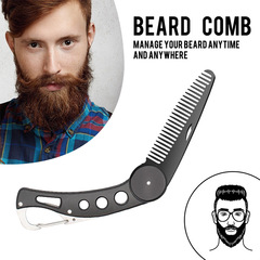 Portable Stainless Steel Beard Comb Antistatic Folding for Men's Hair Styling Bottle opener Keychain Black One size