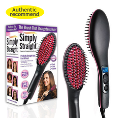 Ionic Straight Hair Straightener Comb Digital Electric Faster Ceramic Heating Hair Anti-scald As picture one size(UK Plug)