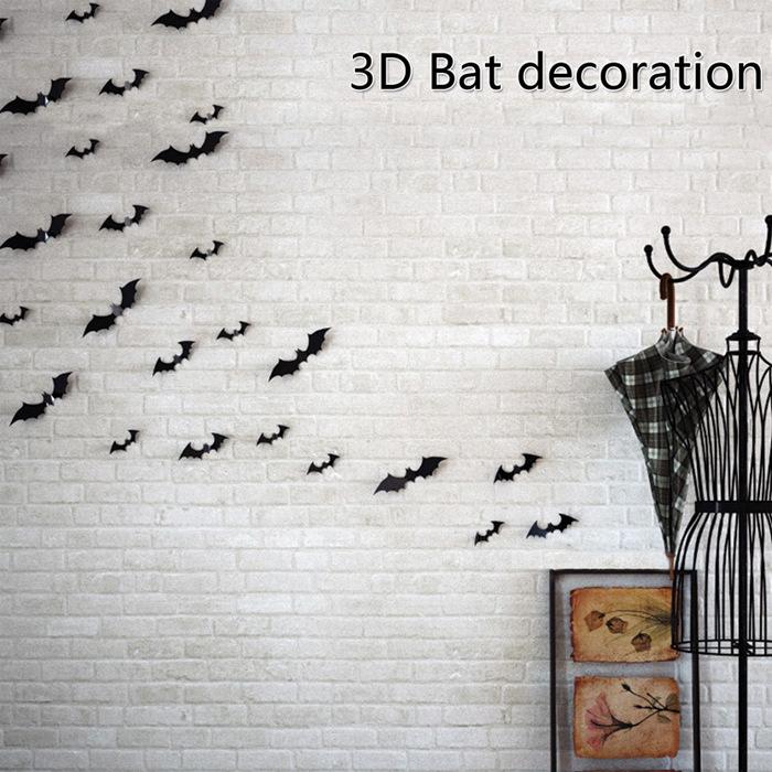 12pcs/set New Arrival PVC 3D Bat Wall Stickers Halloween Party Wedding Decor DIY Home Decorations Black 12Pcs / set
