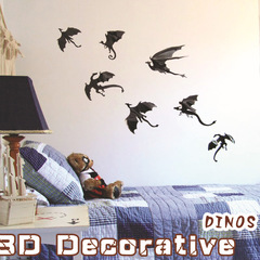 3D dinosaur Wall Sticker for kids rooms Wall Art Dragon Silhouettes Fantasy Halloween Fun home Decor Black dinosaur 7pcs / set