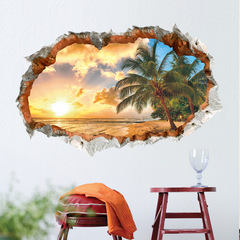 Hoki Sunny beach 3D broken wall vinyl wall stickers for Bedroom TV Background Decor Removable Decals Sunset seascape-C 24*36 in