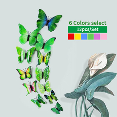 12pcs/set 3D Butterfly wall Stickers PVC Colorful Butterflies decor art Decals DIY home Decoration Green 12pcs/set