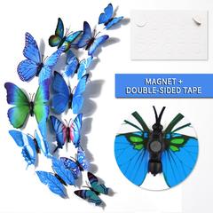 12pcs/set 3D Butterfly wall Stickers PVC Colorful Butterflies decor art Decals DIY home Decoration Blue 12pcs/set