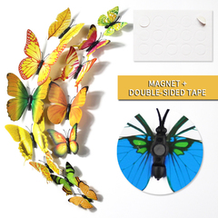 12pcs/set 3D Butterfly wall Stickers PVC Colorful Butterflies decor art Decals DIY home Decoration Yellow 12pcs/set