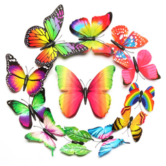12pcs/set 3D Butterfly wall Stickers PVC Colorful Butterflies decor art Decals DIY home Decoration Rainbow gradient 12pcs/set