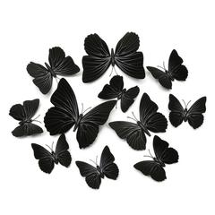 12pcs/set 3D Butterfly wall Stickers PVC Colorful Butterflies decor art Decals DIY home Decoration Pure Black 12pcs/set