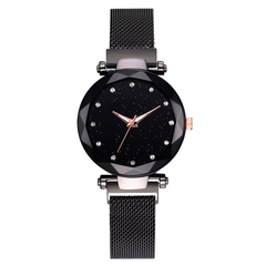 Hoki Luxury Women Watches Magnetic Starry Sky Female Clock Geometric Quartz Wristwatch Ladies Black One size