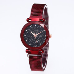 Hoki Luxury Women Watches Magnetic Starry Sky Female Clock Geometric Quartz Wristwatch Ladies Red One size
