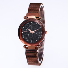 Hoki Luxury Women Watches Magnetic Starry Sky Female Clock Geometric Quartz Wristwatch Ladies Brown One size