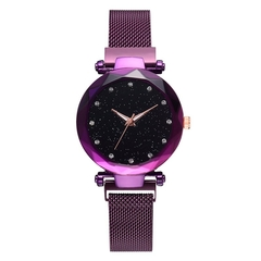 Hoki Luxury Women Watches Magnetic Starry Sky Female Clock Geometric Quartz Wristwatch Ladies Purple One size