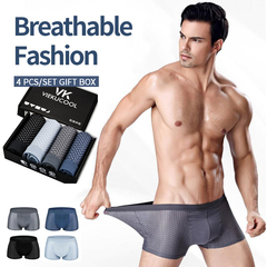 4 pcs/lot men's underwear ice silk breathable and comfortable Modal mesh boxer briefs gift box Deep Gary&Blue&Black&Grey Blue XXXL