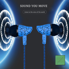 2019 new arrival Crack Earphone Wired Headset Super Bass 3.5mm Earbud with Microphone Hands Earpiece Blue