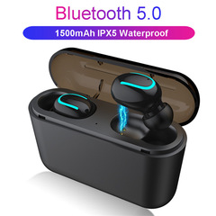 Q32 Bluetooth 5.0 Wireless Earphone TWS Sport  IPX5 waterproof Headphones Earbuds with Power bank Black
