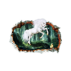 Hoki Forest unicorn 3D broken wall stickers for Theme room decoration Bedroom TV Background Decor Forest unicorn 40*60cm